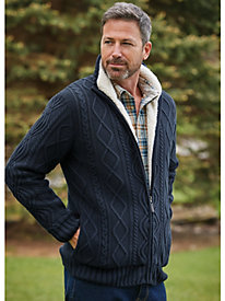 Scandia Woods Full-Zip Fisherman Cable Sweater