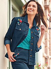 Embroidered Silhouette Slimmers® Denim Jacket