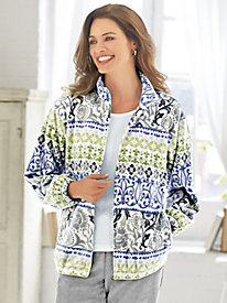 Classic Print Fleece Jacket by Alfred Dunner®