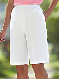 No-Iron Poly Plain Weave Bermuda Shorts