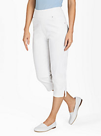 Flat-Waist Washed Denim Capris