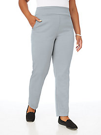 Flat Waist Ponté Pants With Pockets
