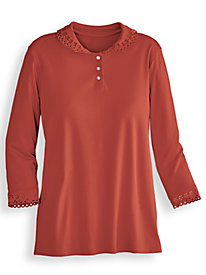 Three-Quarter Sleeve Cutwork Trimmed Top