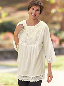 Edwardian Style Blouses Lace Trim Tunic $35.99 AT vintagedancer.com
