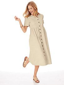 Denim Button-Front Dress