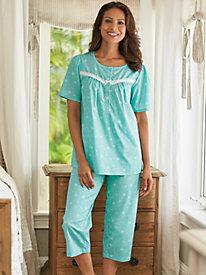 Print Eyelet Capri Pajamas