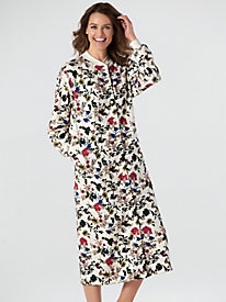 4 easy living print fleece robe - Flannel Nightgowns