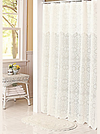 Lace Shower Curtain, Liner and Bath Rug Set