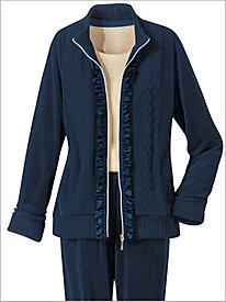 Ruffle Trim Velour Jacket by D & D Lifestyle 8683108