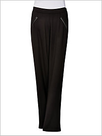 Ponte Knit Faux Leather Trim Pull-on Pants by D & D Lifestyle 8945263