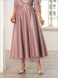 Tea Length Mesh Overlay Full Skirt by Alex Evenings