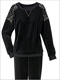 Sparkle Quilt Velour Pullover Top