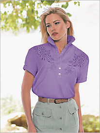 Together Embroidered Roll Sleeve Polo