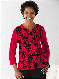 Flocked Sweater by Alfred Dunner