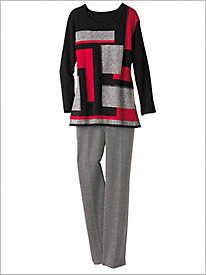 Colorblock Sweater & Textured Pants by Alfred Dunner