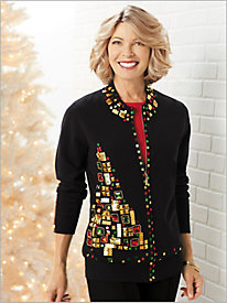 Mosaic Tree Zip Front Cardigan