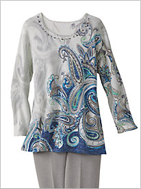 Paisley Shimmer Sweater by Alfred Dunner