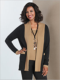 Colorblock Sweater Cardigan by Sag Harbor