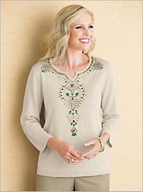 Beaded Yoke Sweater by Alfred Dunner