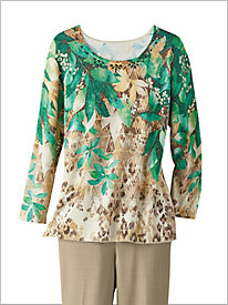 Leaf Yoke Sweater by Alfred Dunner