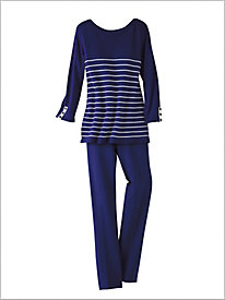 Cotton Stripe Sweater & Slimtacular® Straight Leg Pants