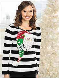Velvet Santa Stripe Sweater