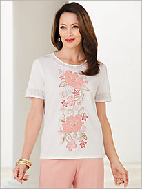 La Dolce Vita Floral Appliqué Sweater by Alfred Dunner