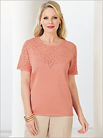 La Dolce Vita Pointelle Yoke Sweater by Alfred Dunner