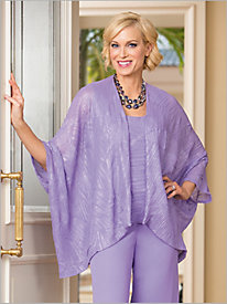 Crinkle Shimmer Twin Set by Alex Evenings 8826420
