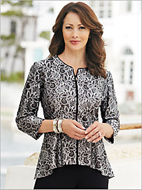 Lace Zip Front Jacket by Alex Evenings 8896329