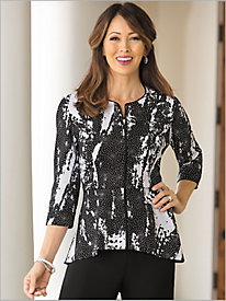 Zip Front Beaded Print Jacket by Alex Evenings
