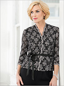 Printed Lace Scallop Blouse by Alex Evenings
