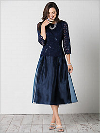 Tea Length Dress with Sequin Detail by Alex Evenings