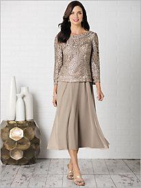 Illusion Sleeve Drape Back Dress by Alex Evenings
