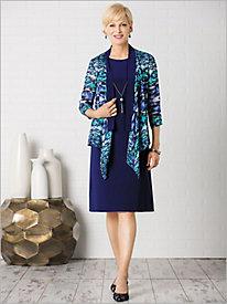 Graphic Chiffon Jacket Dress