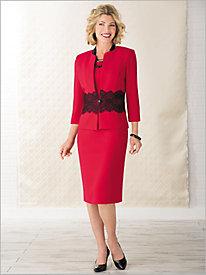 Lace Trim Jacket Dress...