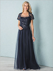 Elegant Sequined Lace & Mesh Gown