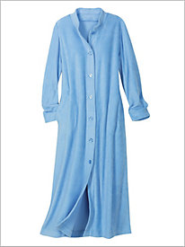Button Front Fleece Maxi Robe