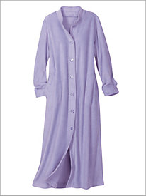 Button Front Fleece Maxi Robe