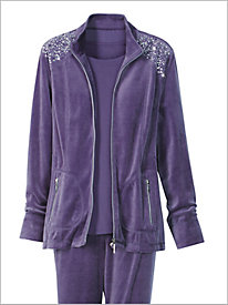Zip Right Velour Jacket by D & D Lifestyle 8941735