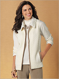 Quilted Vest with Faux Fur Collar by Alfred Dunner