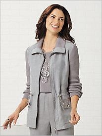 Microsuede Anorak Sweater Jacket