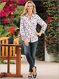 Sailboat Print Shirt by Foxcroft & Faith Ankle Jeans by Miracle Jean