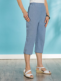 Lace Up Chambray Capris...