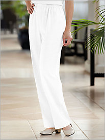 Look-Of-Linen Flat Front Pull On Pants