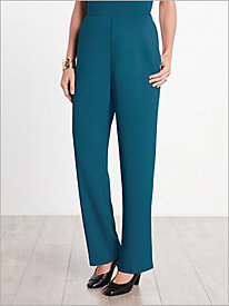 Textured Stretch Crepe Hollywood Waist Pants