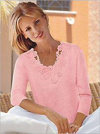 Together Crochet Trim Sweater