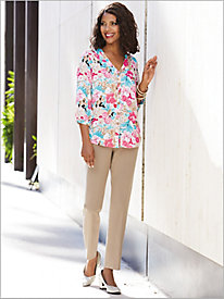 Blooming Blossoms Shirt & Look-Of-Linen Ankle Pant