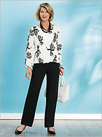 Embroidered Floral Blouson & Georgette Slim Leg Pants
