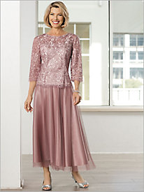 Rose Swirl Embroidered Blouse & Skirt by Alex Evenings